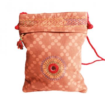 Embroidered Sling Bag Lambani Brown 02