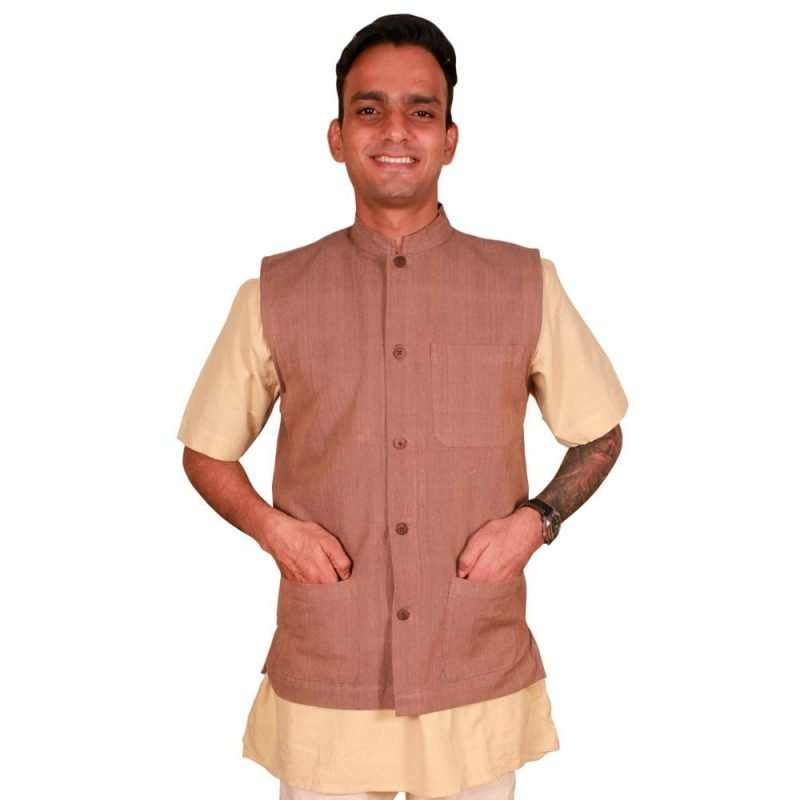 Khaki Brown Handloom Jacket KBHJ-01