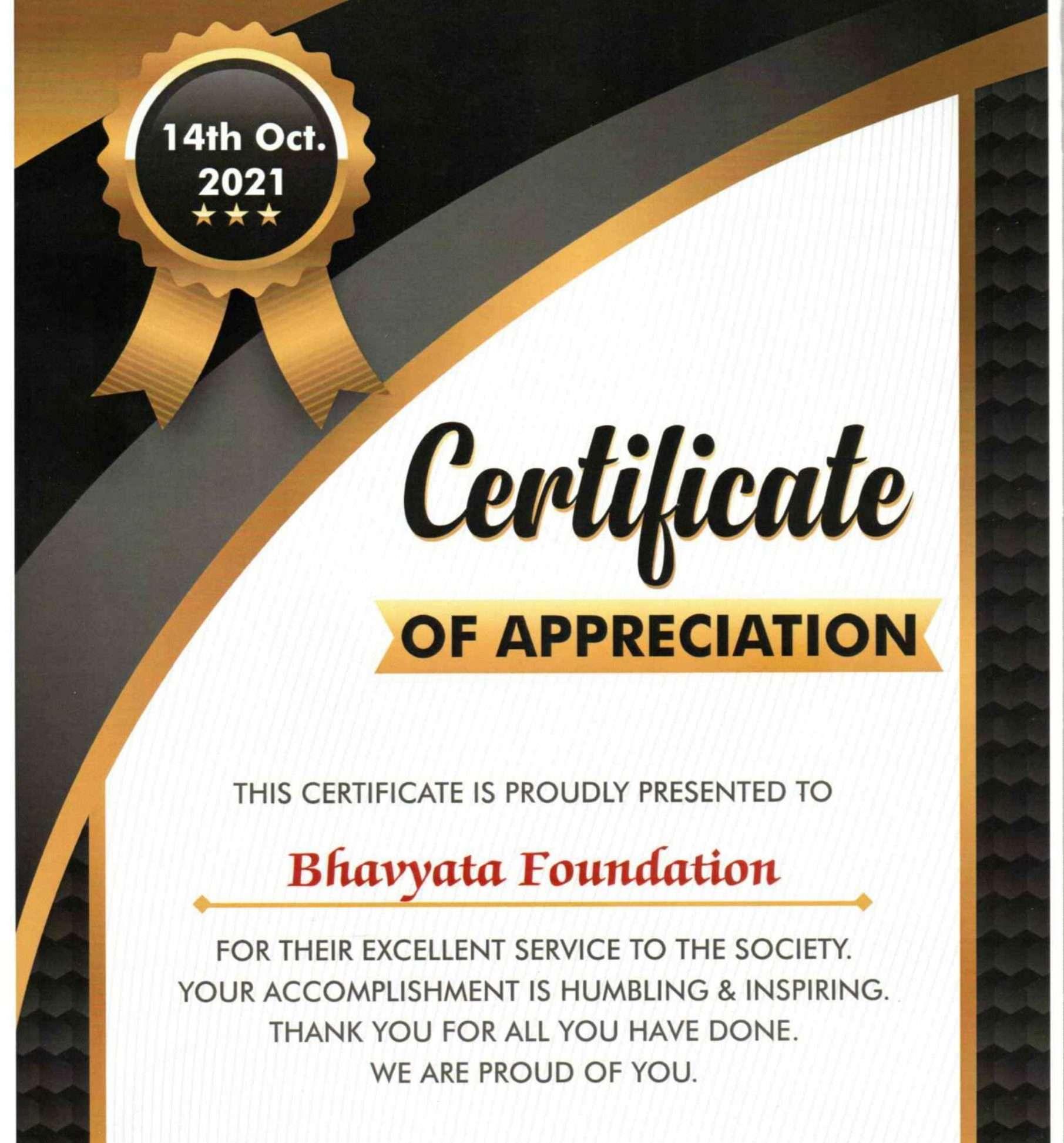 Hunger Free Nation Certificate Bhavyata Foundation